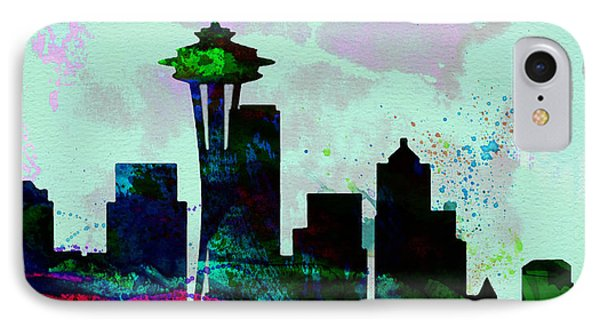 Seattle City Skyline IPhone Case by Naxart Studio