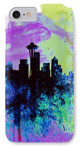 Seattle Watercolor Skyline 1 IPhone Case by Naxart Studio