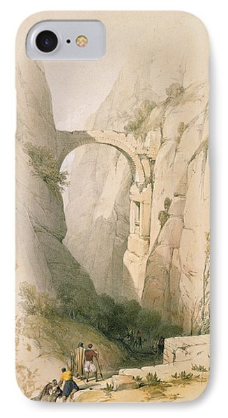 Triumphal Arch Crossing The Ravine Leading To Petra IPhone Case by David Roberts