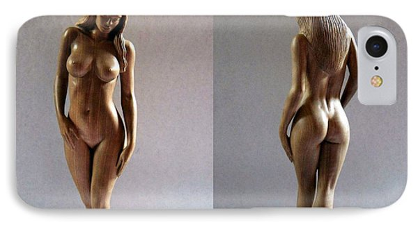 Wood Sculpture Of Naked Woman Phone Case by Carlos Baez Barrueto