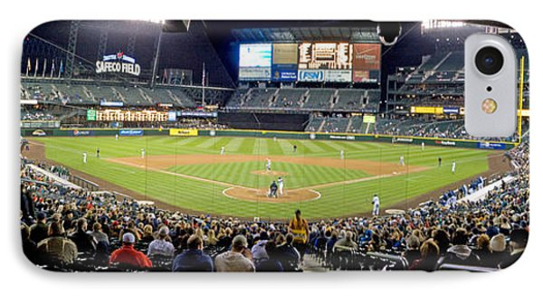 0434 Safeco Field Panoramic IPhone Case by Steve Sturgill