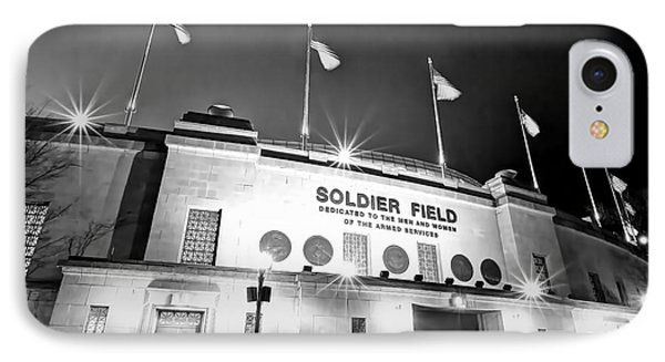 0879 Soldier Field Black And White IPhone Case by Steve Sturgill