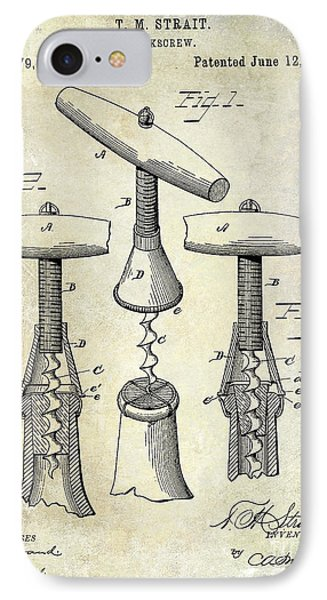 1883 Corkscrew Patent Drawing IPhone Case by Jon Neidert
