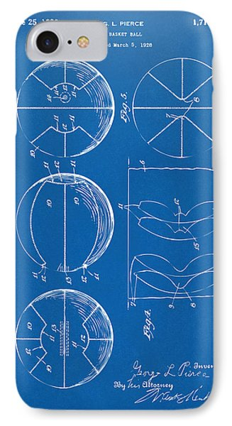 1929 Basketball Patent Artwork - Blueprint IPhone 7 Case by Nikki Marie Smith