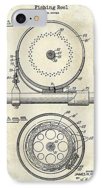 1942 Fishing Reel Patent Drawing  IPhone Case by Jon Neidert