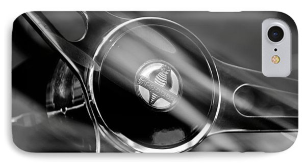 1965 Ford Mustang Cobra Emblem Steering Wheel IPhone Case by Jill Reger