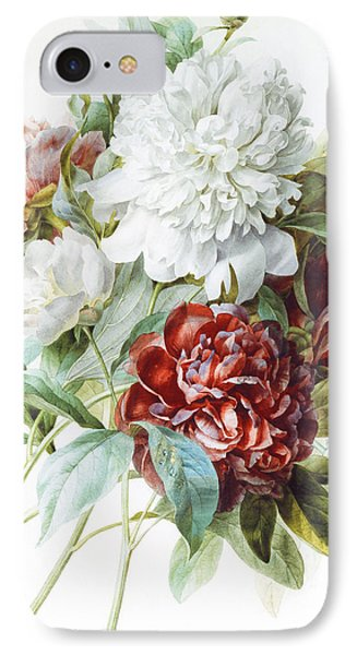 A Bouquet Of Red Pink And White Peonies IPhone Case by Pierre Joseph Redoute