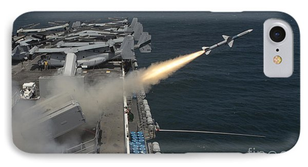 A Rim-7 Sea Sparrow Missile Is Launched Phone Case by Stocktrek Images