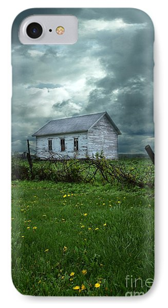 Abandoned Building In A Storm Phone Case by Jill Battaglia