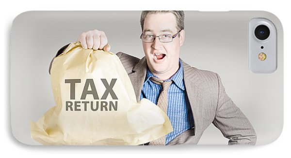 Accountant Holding Large Tax Return Refund IPhone Case by Jorgo Photography - Wall Art Gallery