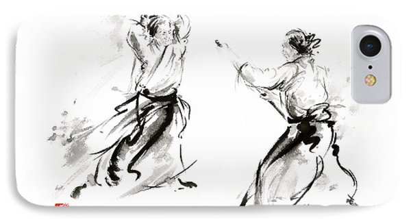 Aikido Enso Circle Martial Arts Sumi-e Original Ink Painting Artwork IPhone Case by Mariusz Szmerdt