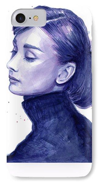 Audrey Hepburn Portrait IPhone 7 Case by Olga Shvartsur