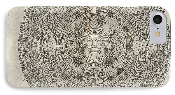 Aztec Calendar Stone IPhone Case by Library Of Congress