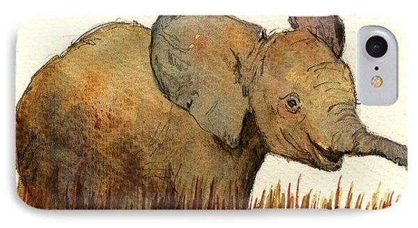 Baby Elephant IPhone Case by Juan  Bosco