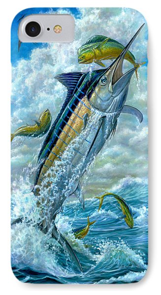 Big Jump Blue Marlin With Mahi Mahi IPhone Case by Terry  Fox