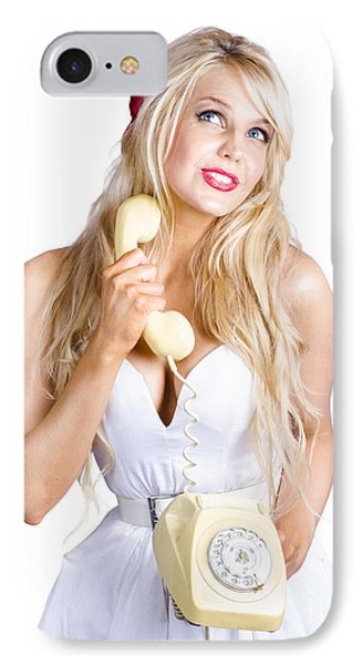 Blond Lady On Old-fashion Telephone Communication IPhone Case by Jorgo Photography - Wall Art Gallery
