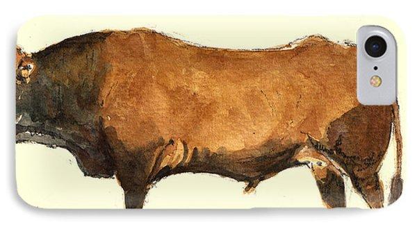 Bull IPhone Case by Juan  Bosco