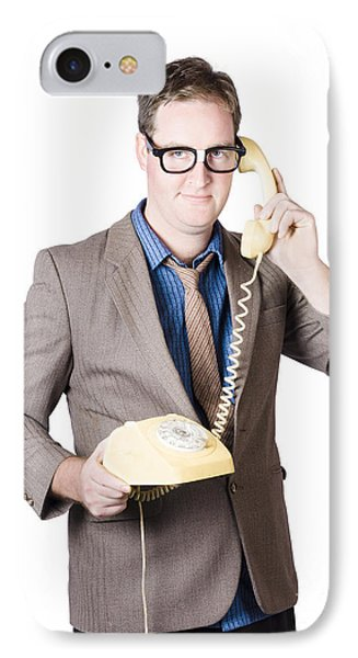 Businessman Talking On Retro Telephone IPhone Case by Jorgo Photography - Wall Art Gallery