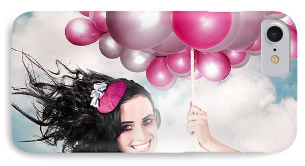 Celebration. Happy Fashion Woman Holding Balloons IPhone Case by Jorgo Photography - Wall Art Gallery
