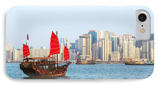 Chinese Junk Boat Sailing In Hong Kong Harbor IPhone 7 Case by Matteo Colombo