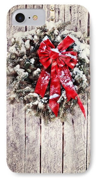 Christmas Wreath On Barn Door IPhone Case by Stephanie Frey