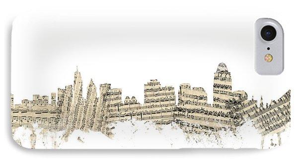 Cincinnati Ohio Skyline Sheet Music Cityscape IPhone Case by Michael Tompsett