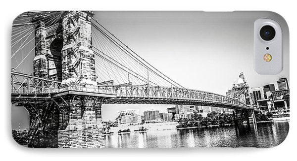 Cincinnati Roebling Bridge Black And White Picture IPhone Case by Paul Velgos