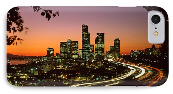 City Of Seattle Skyline IPhone Case by King Wu
