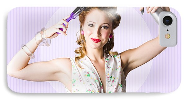 Classic 50s Pinup Girl Combing Hair Style IPhone Case by Jorgo Photography - Wall Art Gallery
