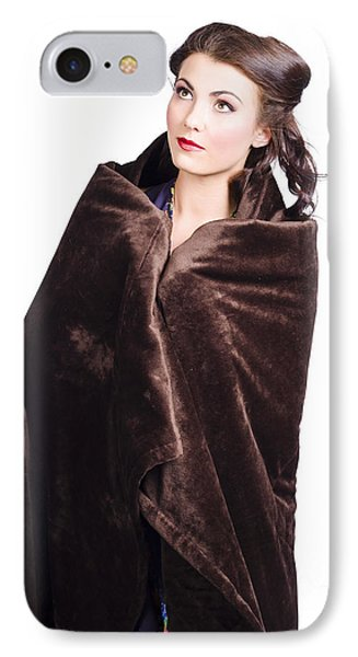 Cold Girl Feeling The Chill Of Winter In Blanket IPhone Case by Jorgo Photography - Wall Art Gallery