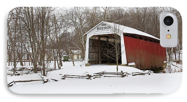 Covered Bridge In Snow Covered Forest IPhone Case by Panoramic Images