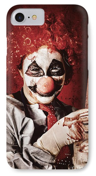 Crazy Medical Clown Holding Oversized Syringe IPhone Case by Jorgo Photography - Wall Art Gallery