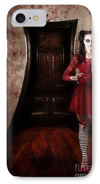 Creepy Woman With Bloody Scissors In Haunted House IPhone Case by Jorgo Photography - Wall Art Gallery