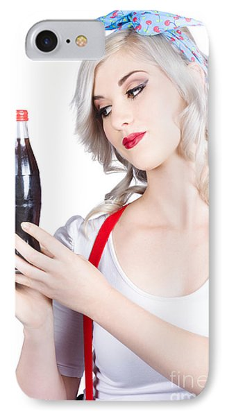 Cute Pin Up Girl With Soda Bottle. Vintage Cafe IPhone Case by Jorgo Photography - Wall Art Gallery