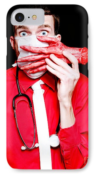 Doctor Death Surgeon Holding Sawn Off Human Hand IPhone Case by Jorgo Photography - Wall Art Gallery