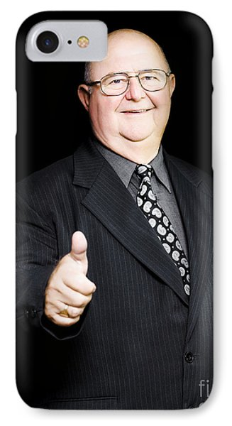 Enthusiastic Positive Senior Business Man IPhone Case by Jorgo Photography - Wall Art Gallery