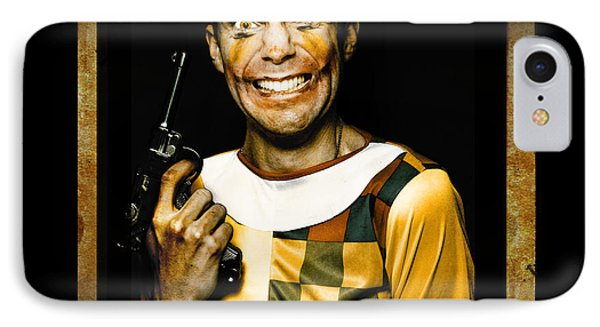 Evil Clown Holding Gun In Horror House Doorway IPhone Case by Jorgo Photography - Wall Art Gallery