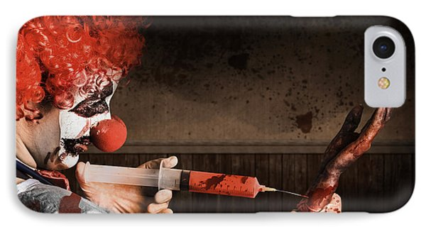 Evil Healthcare Clown Holding Needle And Syringe IPhone Case by Jorgo Photography - Wall Art Gallery