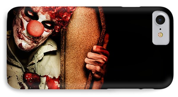 Evil Horrible Clown Holding Coffin In Darkness IPhone Case by Jorgo Photography - Wall Art Gallery