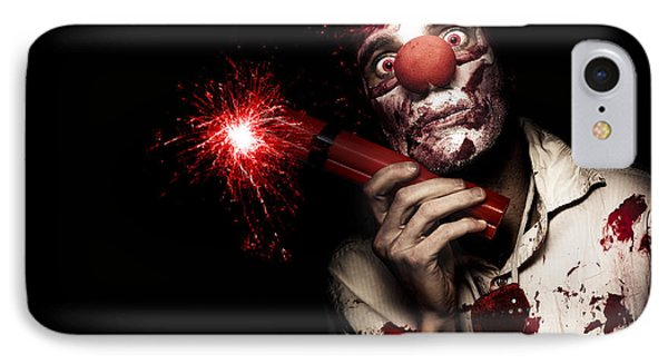 Evil Male Business Clown Holding Explosive Bomb IPhone Case by Jorgo Photography - Wall Art Gallery