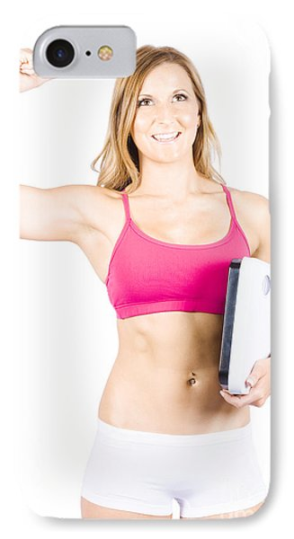 Excited Weight Loss Woman Over White Background IPhone Case by Jorgo Photography - Wall Art Gallery