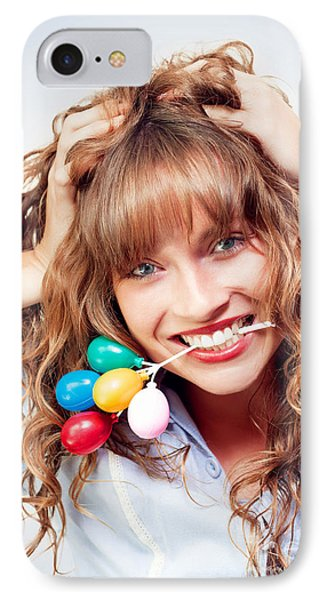 Excited Woman Enjoying Her Birthday Celebration IPhone Case by Jorgo Photography - Wall Art Gallery
