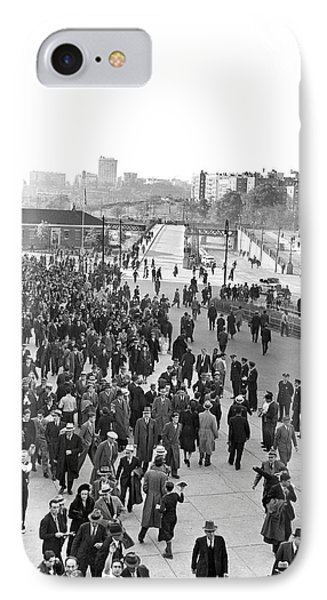 Fans Leaving Yankee Stadium. Phone Case by Underwood Archives