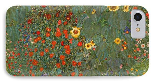 Farm Garden With Sunflowers IPhone Case by Gustav Klimt