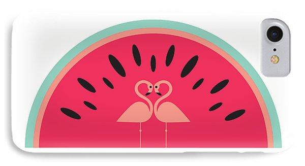 Flamingo Watermelon IPhone 7 Case by Susan Claire