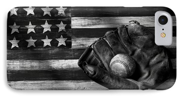 Folk Art American Flag And Baseball Mitt Black And White IPhone 7 Case by Garry Gay