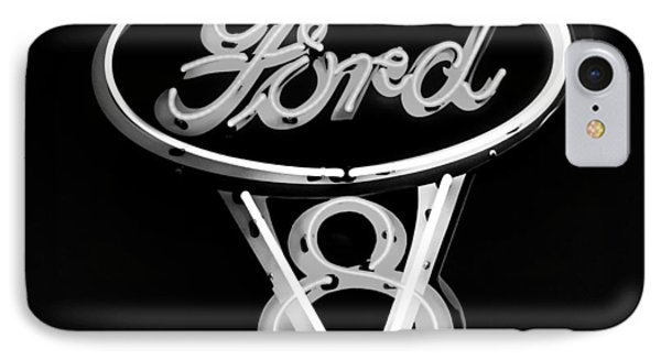 Ford V8 Neon Sign IPhone Case by Jill Reger