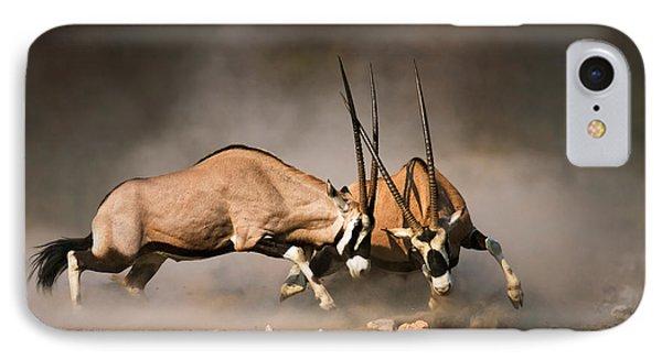 Gemsbok Fight IPhone Case by Johan Swanepoel
