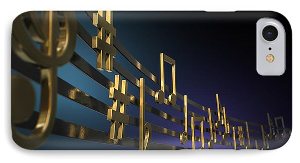 Gold Music Notes On Wavy Lines IPhone Case by Allan Swart