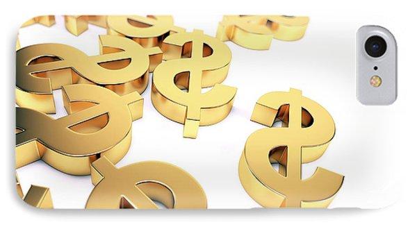 Golden Us Dollar Signs IPhone Case by Sebastian Kaulitzki